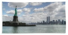 Lady Liberty And New York Twin Towers Beach Towel