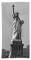 Lady Liberty Black And White Beach Towel