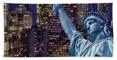 Lady Liberty By Night Beach Towel
