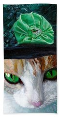 Lady Little Girl Cats In Hats Beach Towel