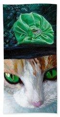 Lady Little Girl Cats In Hats Beach Sheet by Michele Avanti