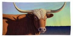 Beach Towel featuring the painting Lady Longhorn by James W Johnson