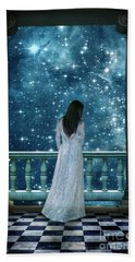 Lady On Balcony At Night Beach Towel