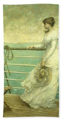 Lady On The Deck Of A Ship  Beach Towel
