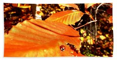 Ladybug At Fall Beach Towel