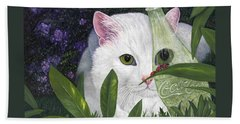 Beach Towel featuring the painting Ladybugs And Cat by Karen Zuk Rosenblatt