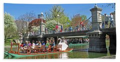 Lagoon Bridge And Swan Boat Beach Sheet by Barbara McDevitt