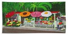 Laguna Beach Flower Stand Beach Towel by Mike Robles