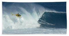 Laird Hamilton Going Left At Jaws Beach Towel by Bob Christopher