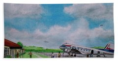 Lake Central Deplaning At Portsmouth Ohio Beach Towel