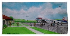 Lake Central Deplaning At Portsmouth Ohio Beach Towel by Frank Hunter