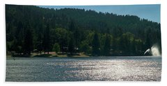 Scenic Lake Photography In Crestline California At Lake Gregory Beach Sheet