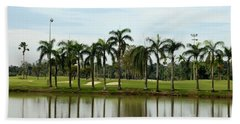 Lake Sand Traps Palm Trees And Golf Course Singapore Beach Towel