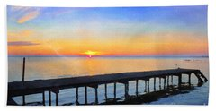 Lake Sunrise - Watercolor Beach Towel