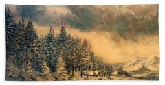Beach Towel featuring the painting Lake Tahoe Winter Colors 2 by Donna Tucker