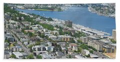 Lake Union Panorama Beach Sheet by David Trotter