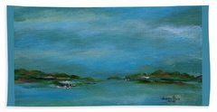 Beach Towel featuring the painting Lake Wallenpaupack Early Morning by Judith Rhue
