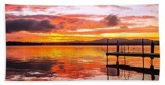 Lake Winnisquam Sunrise Beach Towel by Mike Ste Marie