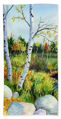 Lakeside Birches Beach Towel