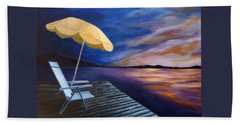 Beach Sheet featuring the painting Lakeside Sunset by Michelle Joseph-Long