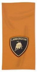 Lambo Hood Ornament Orange Beach Towel