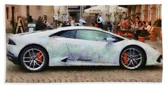 Lamborghini Huracane Lp 610-4 Parked In The City Beach Sheet