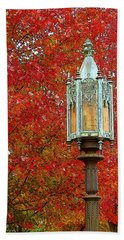 Lamp Post In Fall Beach Towel