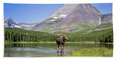 Land Of The Moose Beach Towel by Jack Bell