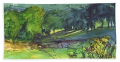 Landscape Lakeway Texas Watercolor Painting By Kmcelwaine Beach Towel
