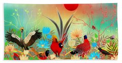 Landscapes With Birds And Red Sun - Limited Edition Of 15 Beach Sheet