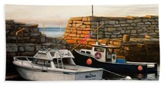 Lanes Cove Fishing Boats Beach Towel