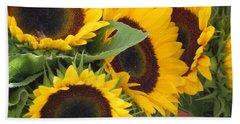 Beach Sheet featuring the photograph Large Sunflowers by Chrisann Ellis
