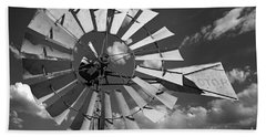 Large Windmill In Black And White Beach Towel