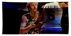 Larry Bird Beach Towel by Marvin Blaine