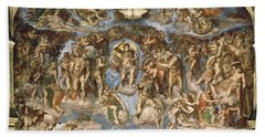 Last Judgement, From The Sistine Chapel, 1538-41 Fresco Beach Towel