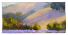 Late June Hills And Lavender Beach Towel