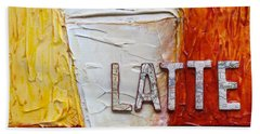 Beach Towel featuring the mixed media Latte by Phyllis Howard