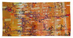 Lattice Animals Abstract Oil Painting By Regina Valluzzi Beach Sheet by Regina Valluzzi