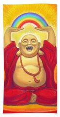 Laughing Rainbow Buddha Beach Sheet by Sue Halstenberg