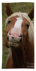 Beach Towel featuring the photograph Laughing Smiling Happy Horse by Stanza Widen