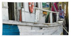 Laughs On A Shrimpboat Beach Towel by Patricia Greer