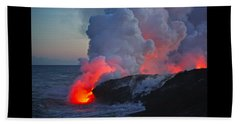 Lava Flow At Sunset In Kalapana Beach Towel