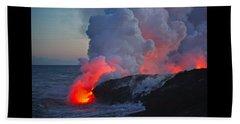 Lava Flow At Sunset In Kalapana Beach Towel