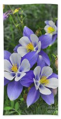 Beach Towel featuring the digital art Lavender And White Star Flowers by Mae Wertz