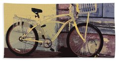Beach Towel featuring the photograph Lavender Door And Yellow Bike by Ecinja Art Works
