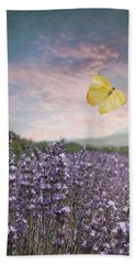 Lavender Field Pink And Blue Sunset And Yellow Butterfly Beach Towel