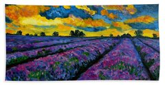 Lavender Fields At Dusk Beach Sheet