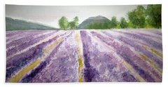 Lavender Fields Tasmania Beach Sheet by Elvira Ingram