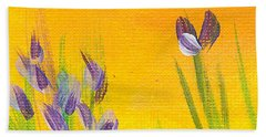 Lavender - Hanging Position 1 Beach Towel by Val Miller