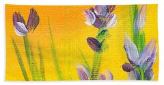 Lavender - Hanging Position 3 Beach Towel by Val Miller